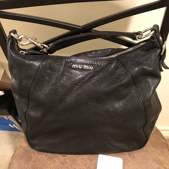 14ba9ea74e53 Vintage Miu Miu floral leather hobo bag - black. M 5aa0c87f00450f813f6a1543